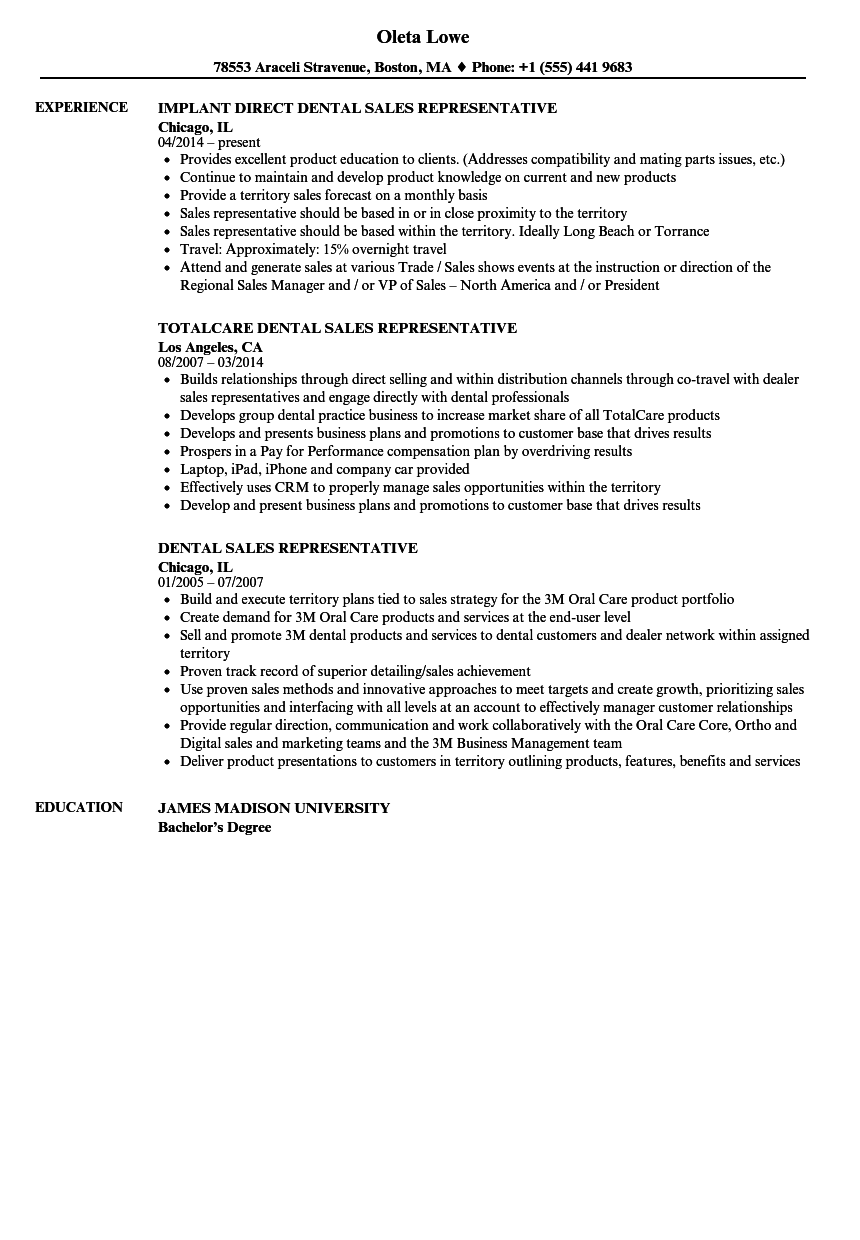 dental sales representative resume samples