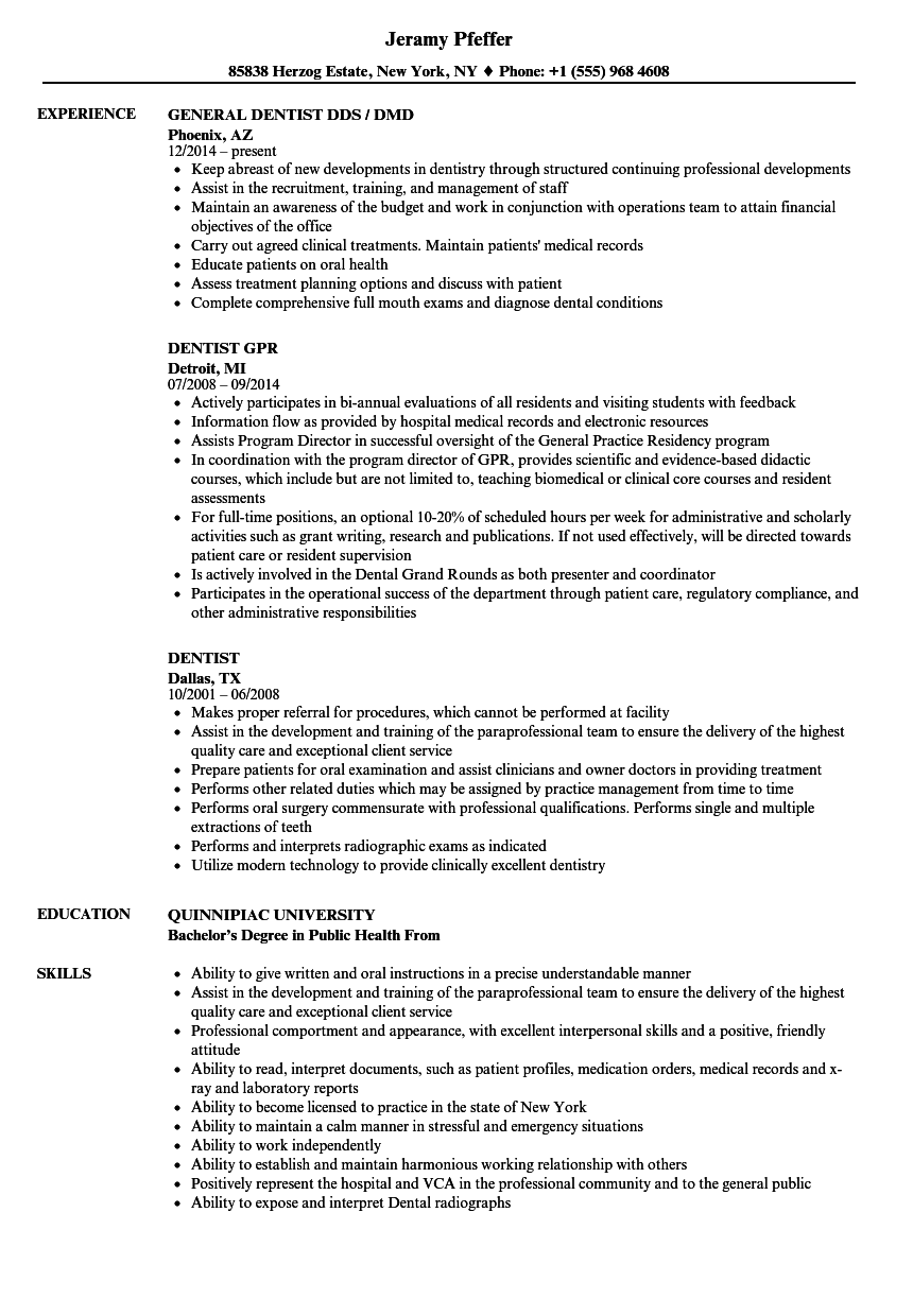 Dentist Resume Samples Velvet Jobs
