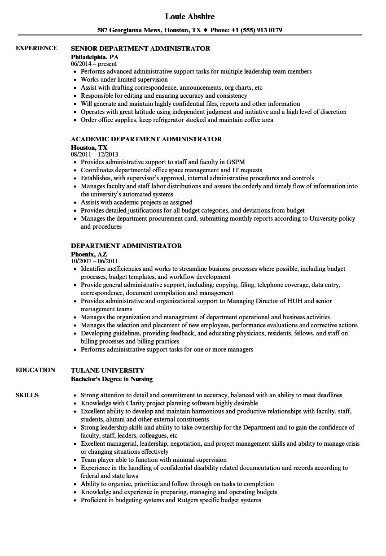 Department Administrator Resume Samples | Velvet Jobs
