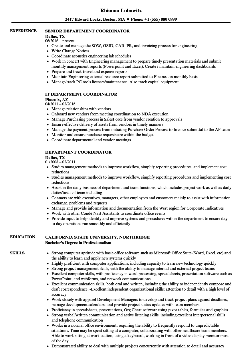 department coordinator resume samples