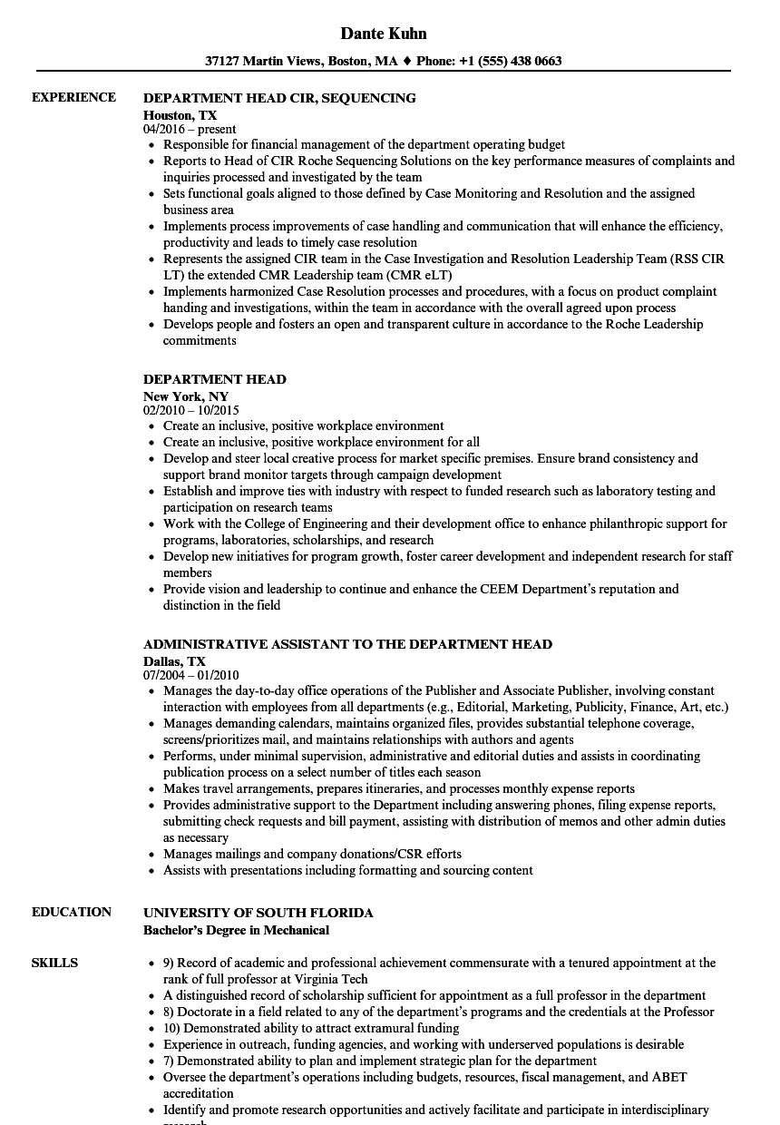 Department Head Resume Samples Velvet Jobs
