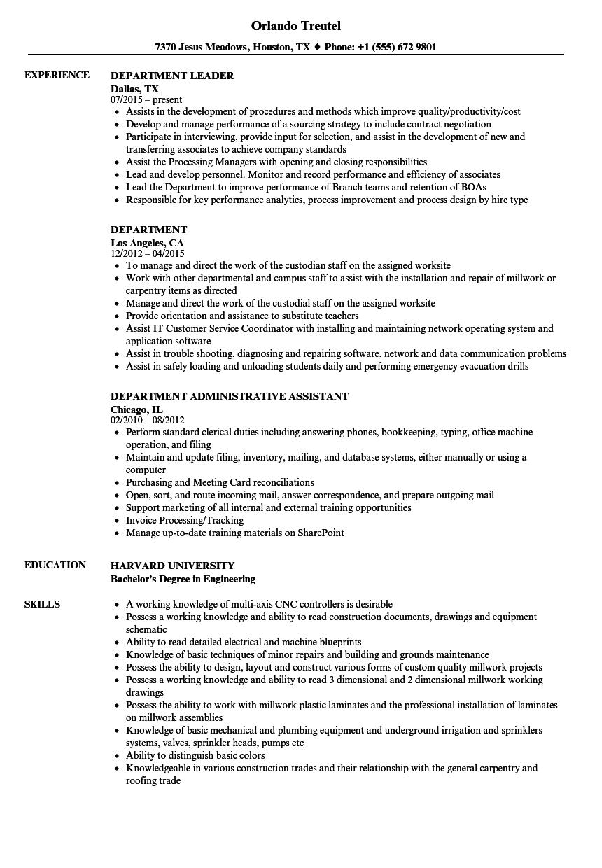 Department Resume Samples | Velvet Jobs