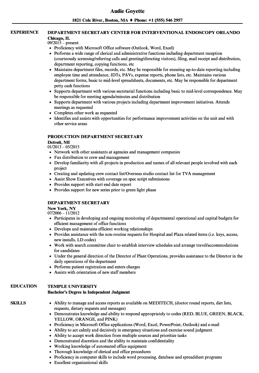 department secretary resume samples velvet jobs