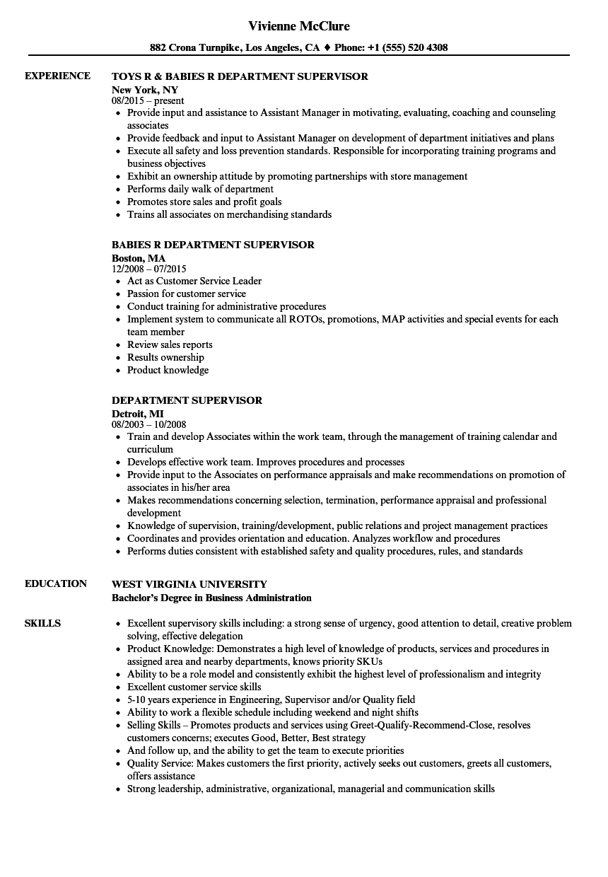 department supervisor resume samples