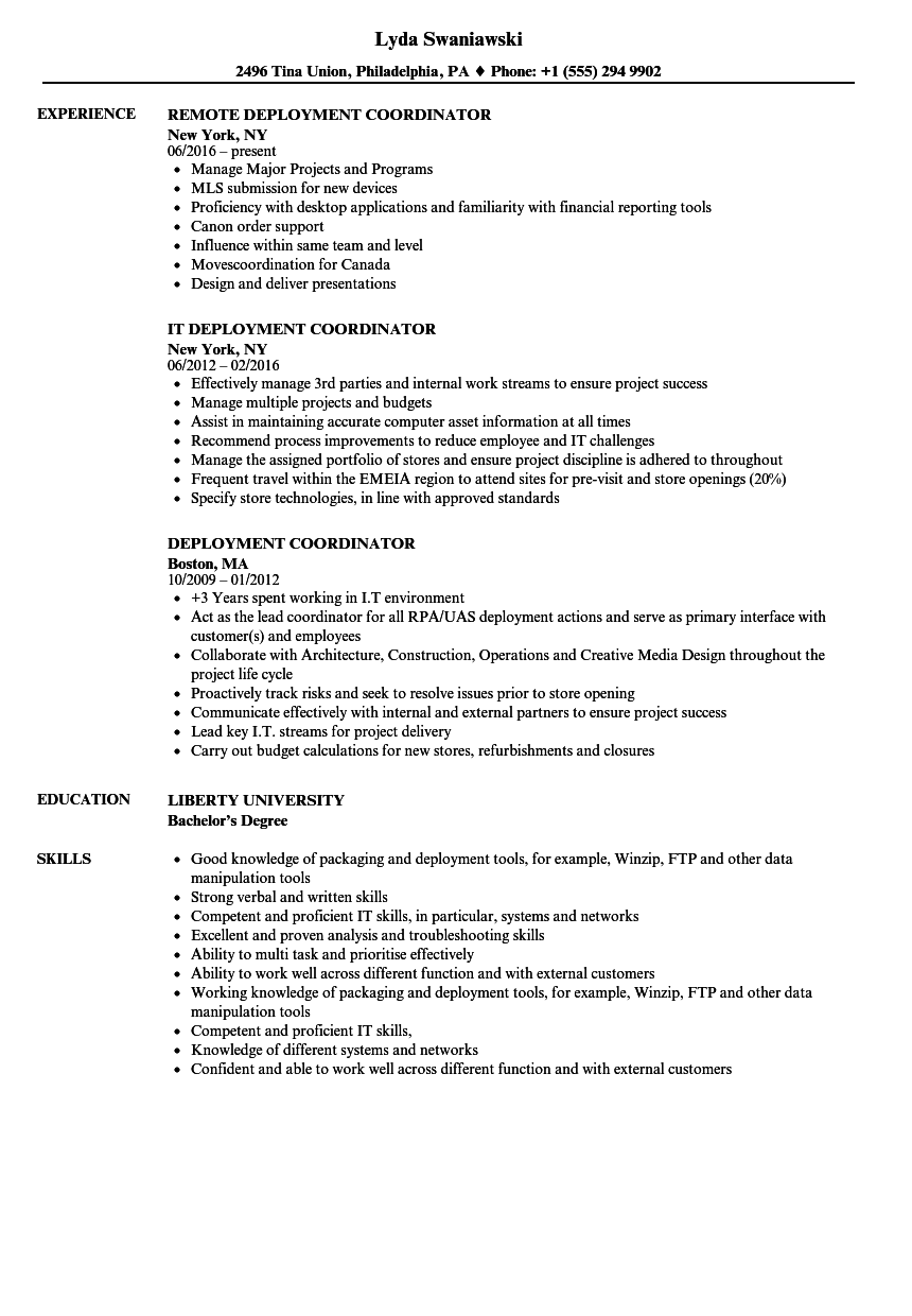 deployment coordinator resume samples