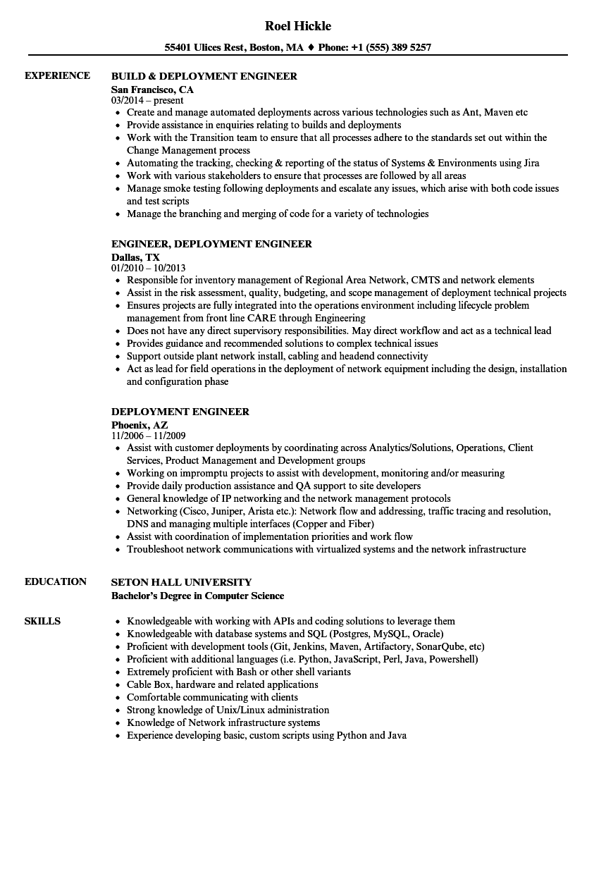 deployment engineer resume samples