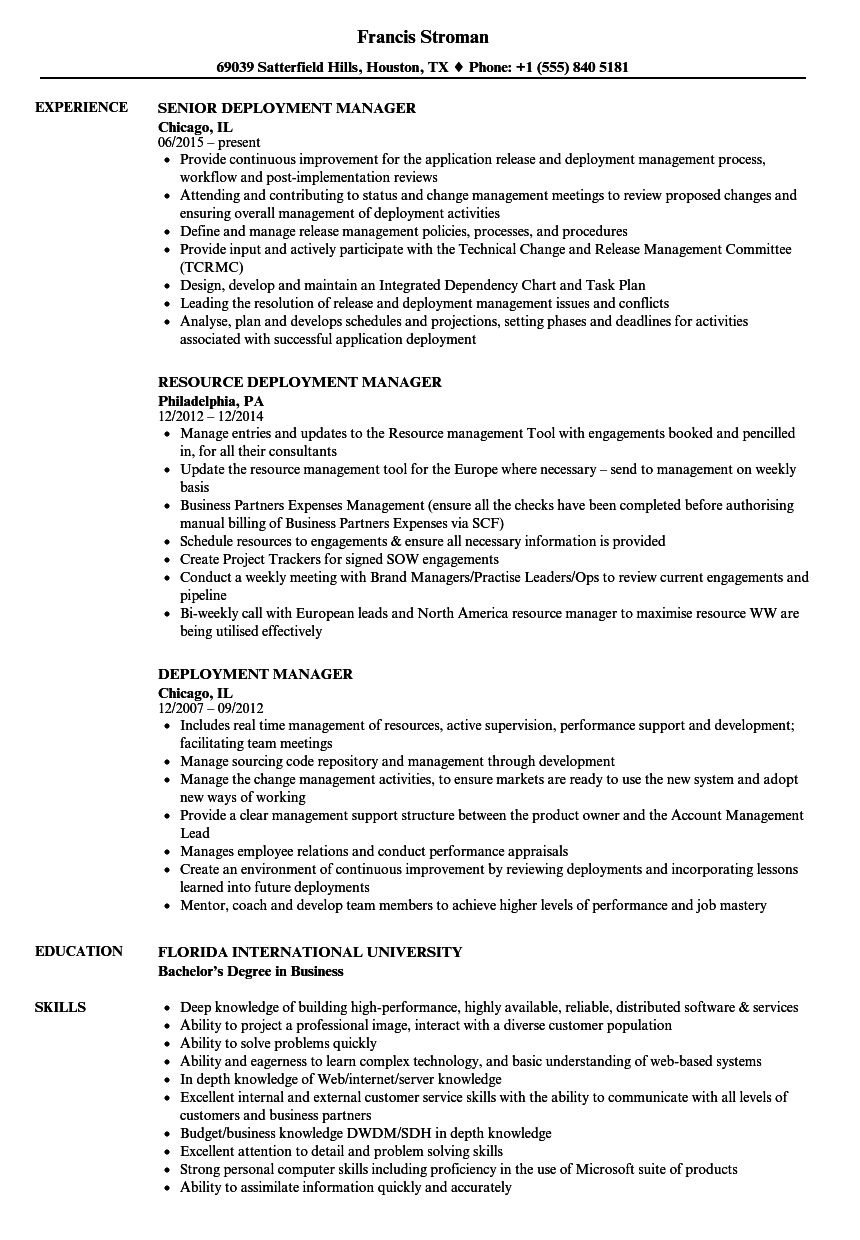 deployment manager resume samples
