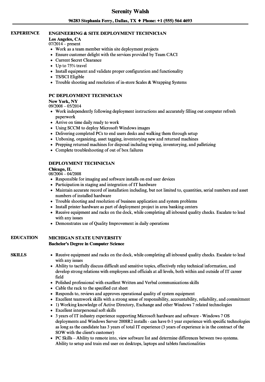 Deployment Technician Resume Samples  Velvet Jobs
