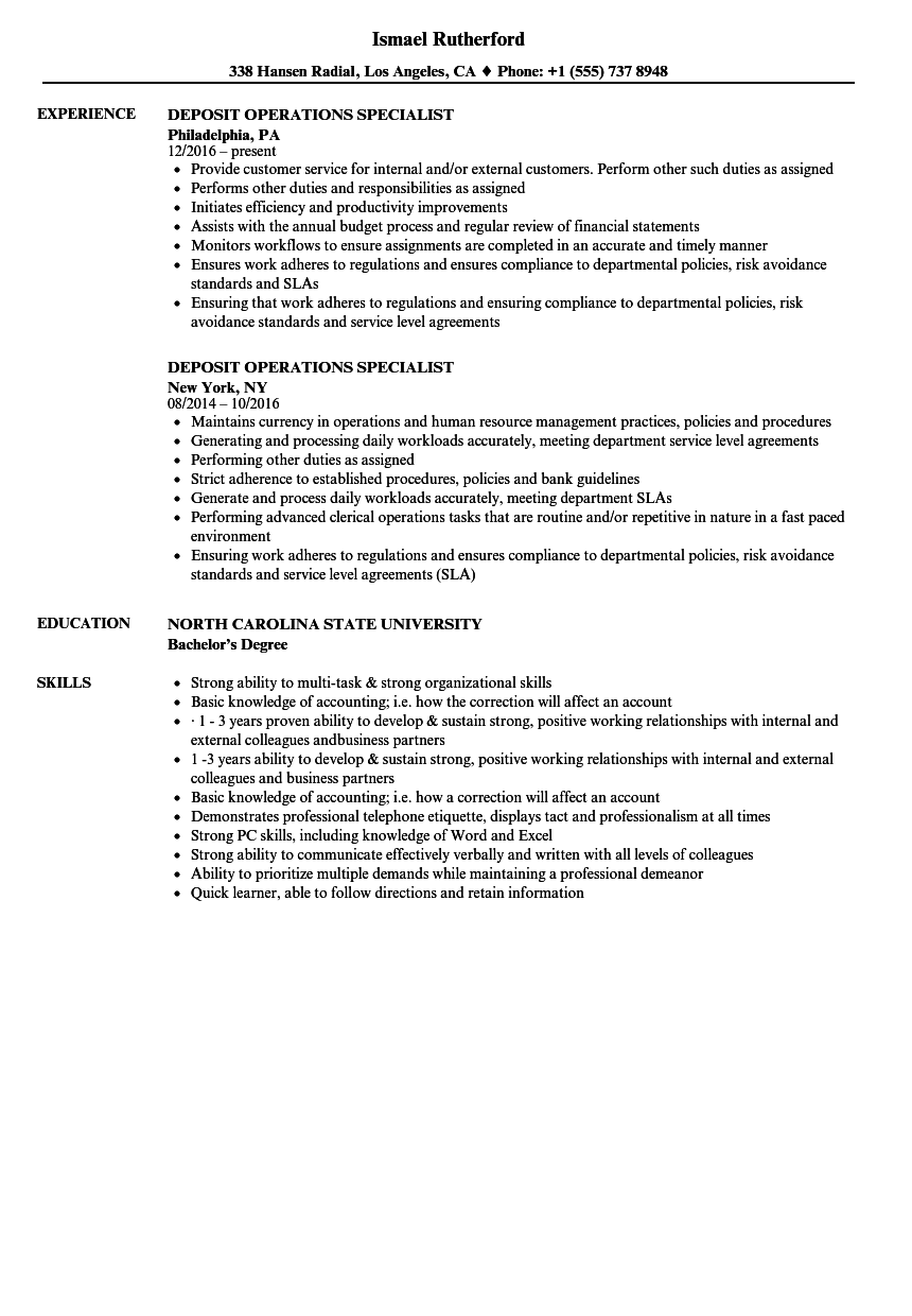 deposit operations specialist resume samples