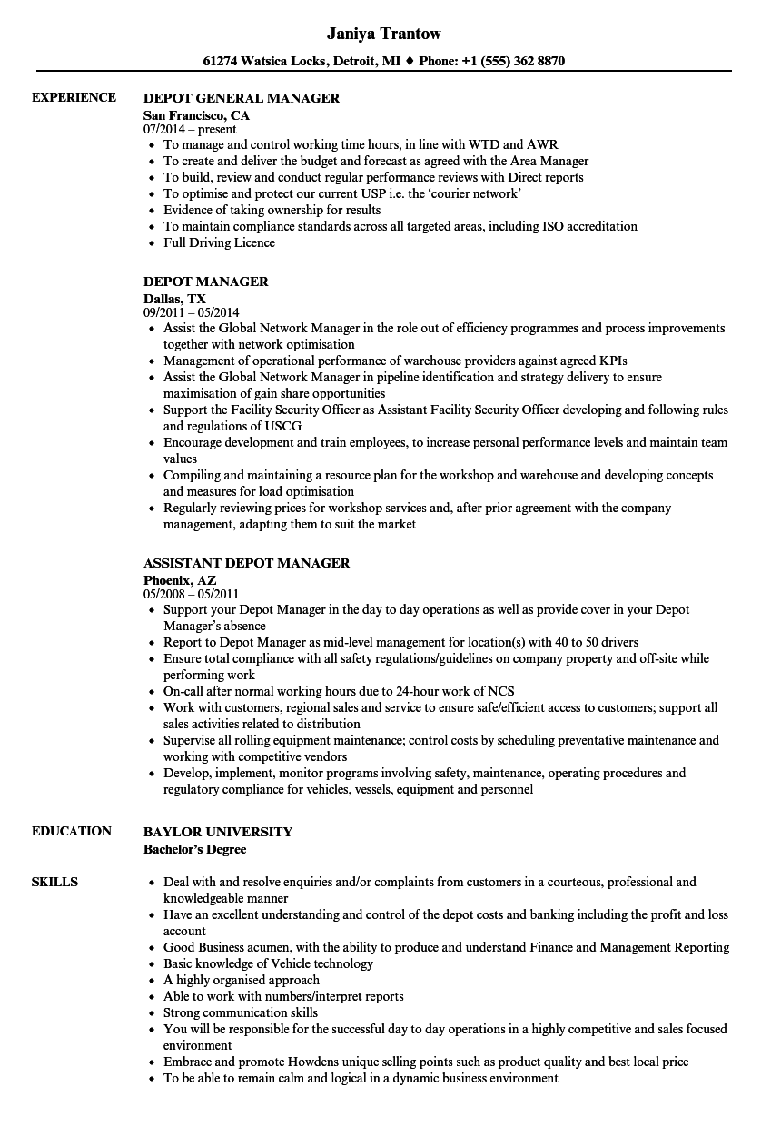 Depot Manager Resume Samples | Velvet Jobs