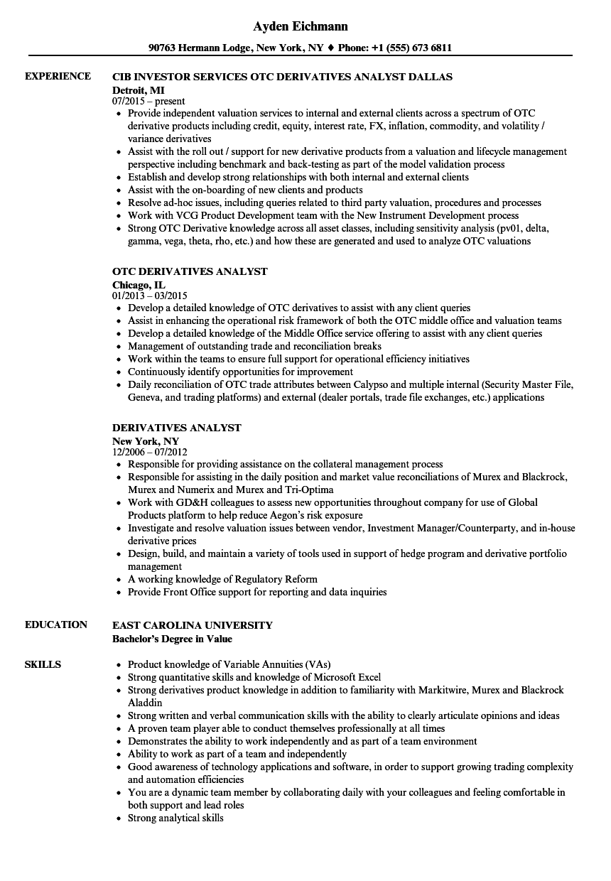 derivatives analyst resume samples