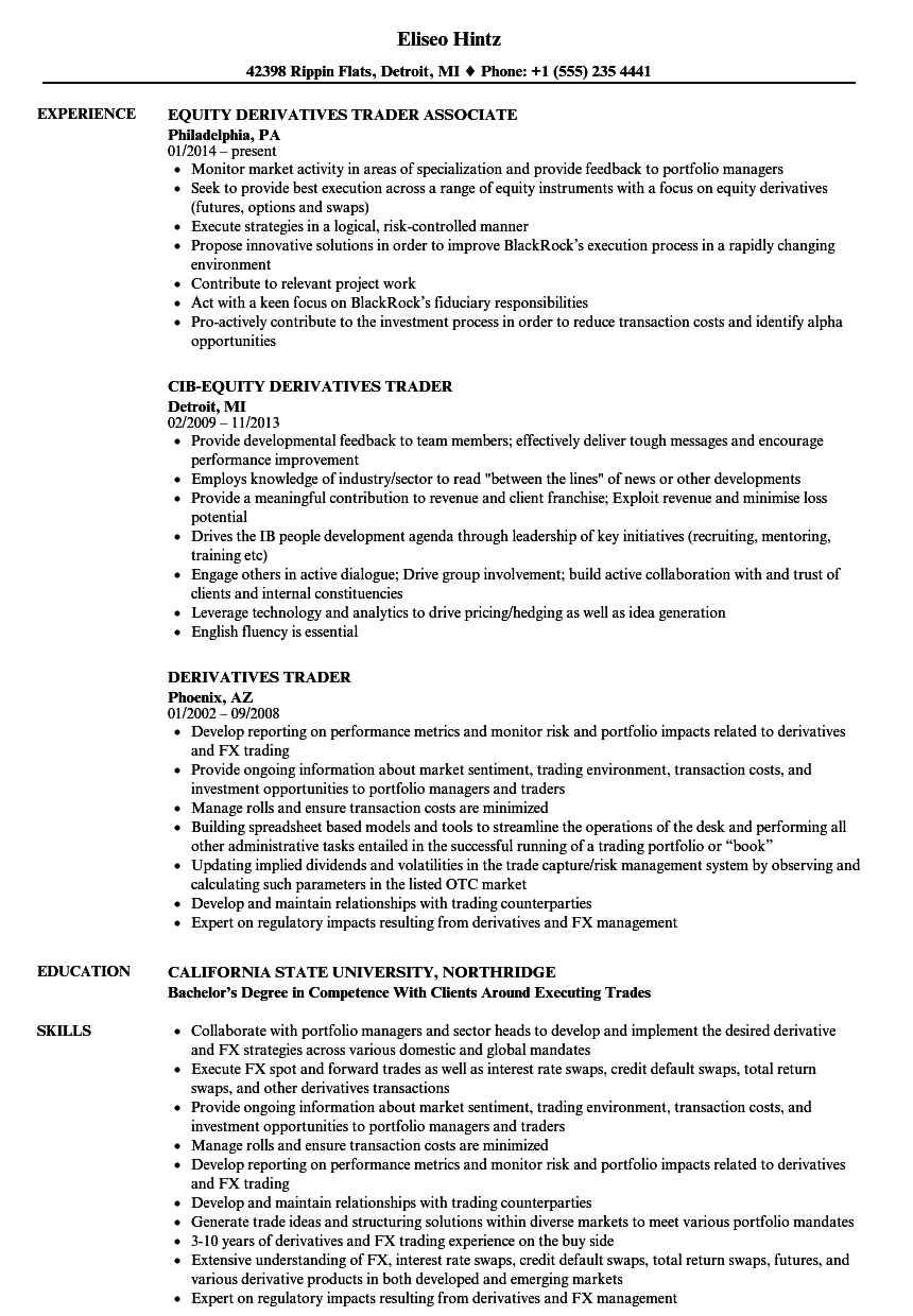 Equity options trader resume