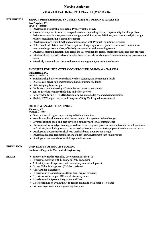 design  u0026 analysis engineer resume samples
