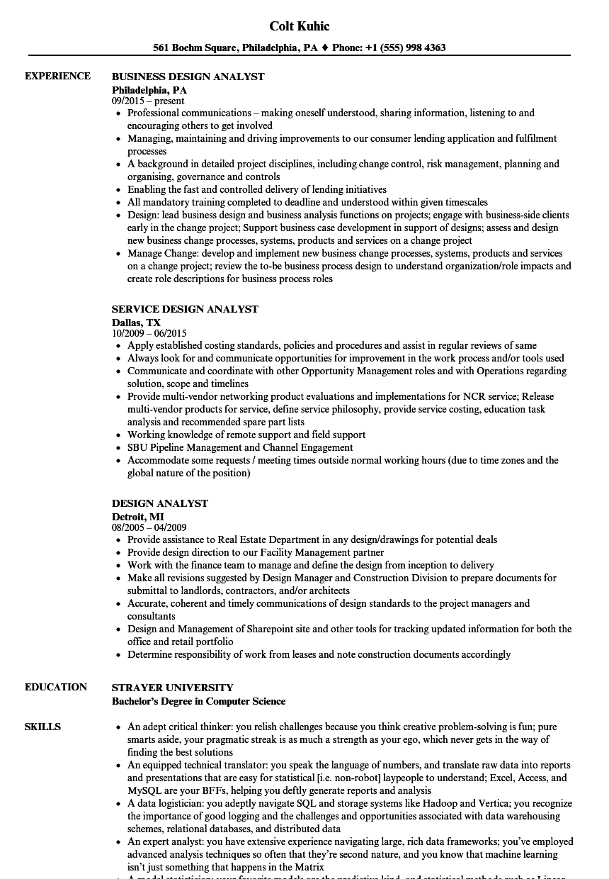 Design Analyst Resume Samples | Velvet Jobs