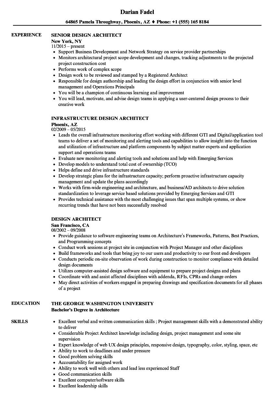 Design Architect Resume Samples | Velvet Jobs