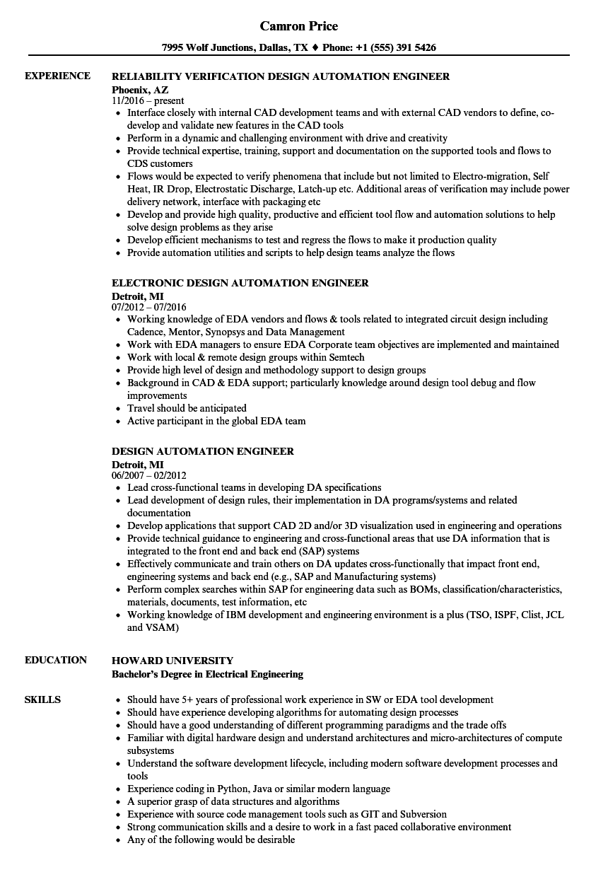 Design Automation Engineer Resume Samples | Velvet Jobs