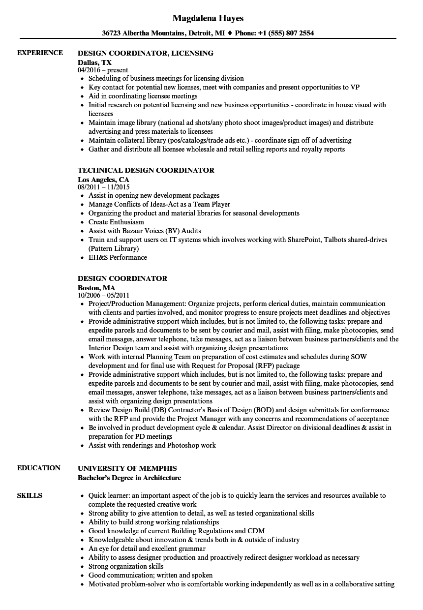 Design Coordinator Resume Samples | Velvet Jobs