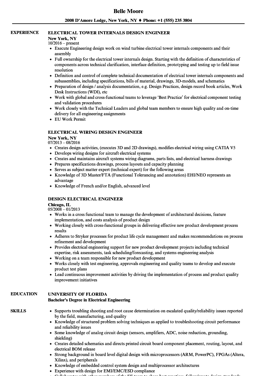 design electrical engineer resume samples velvet jobs