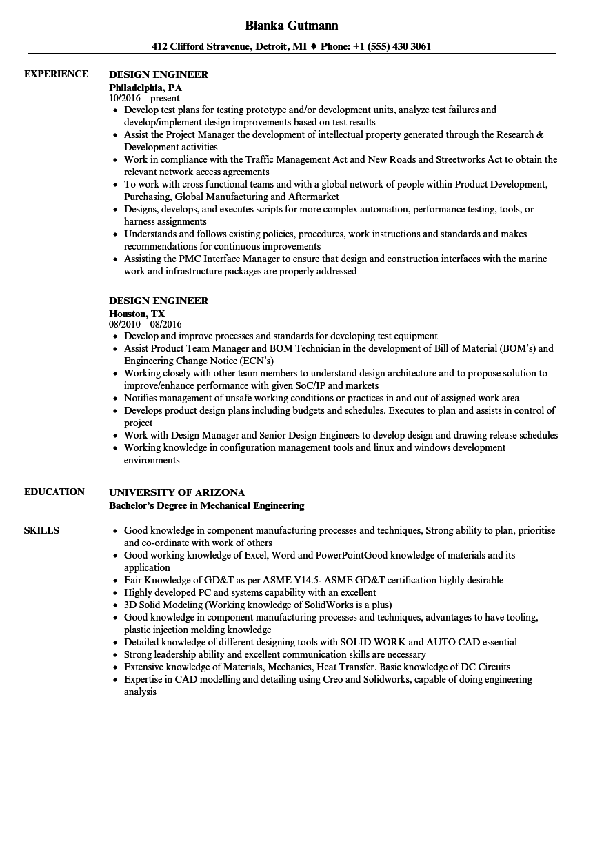 Design Engineer Resume Samples | Velvet Jobs