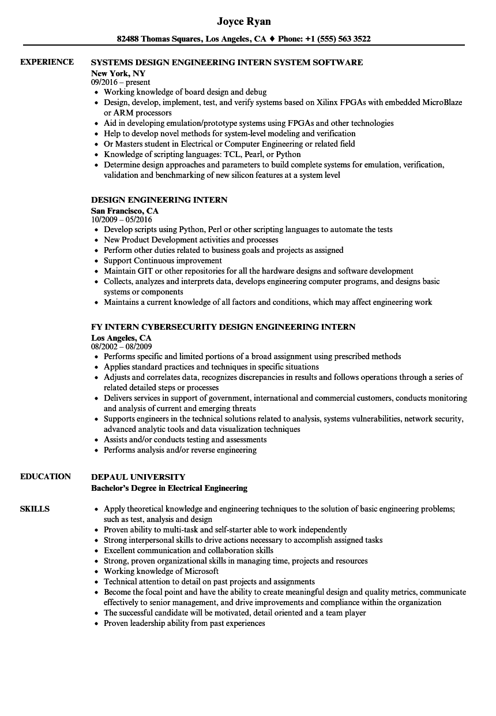 design engineering intern resume samples