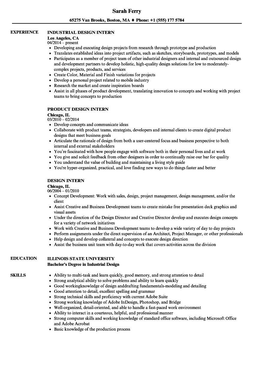 Design Intern Resume Samples Velvet Jobs