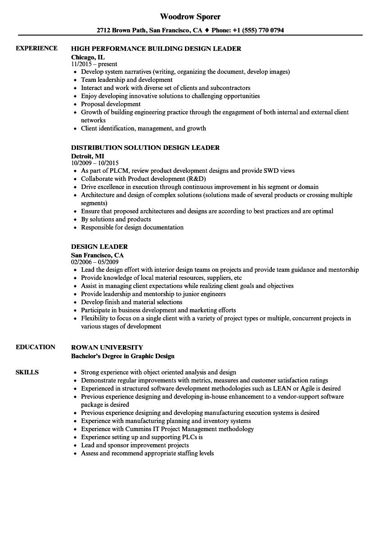design leader resume samples
