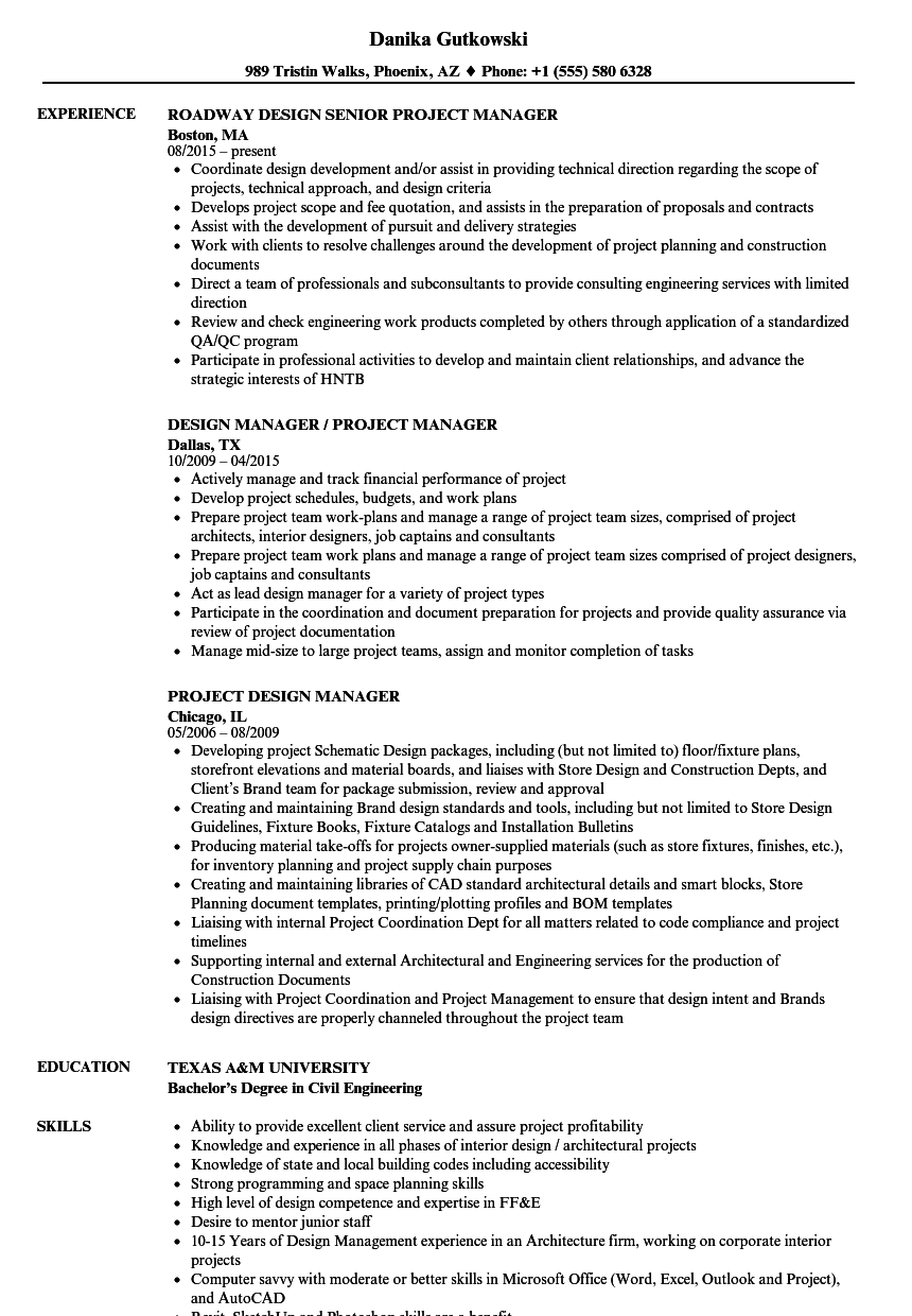 Design Manager / Project Manager Resume Samples | Velvet Jobs