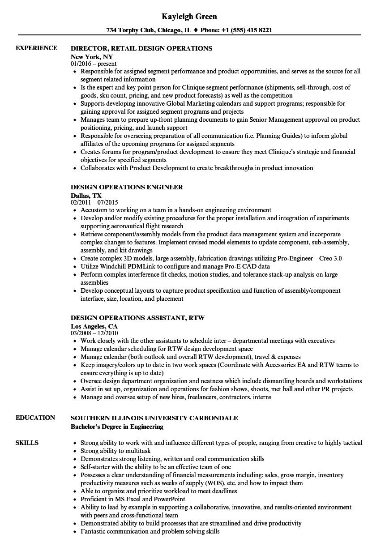 Design Operations Resume Samples | Velvet Jobs