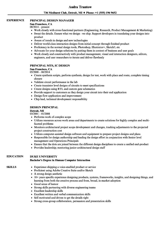 Design Principal Resume Samples Velvet Jobs