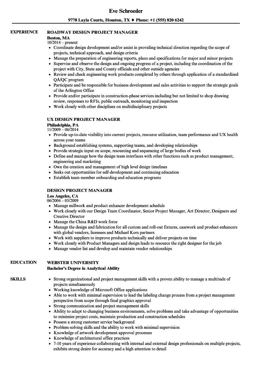 Design Project Manager Resume Samples Velvet Jobs