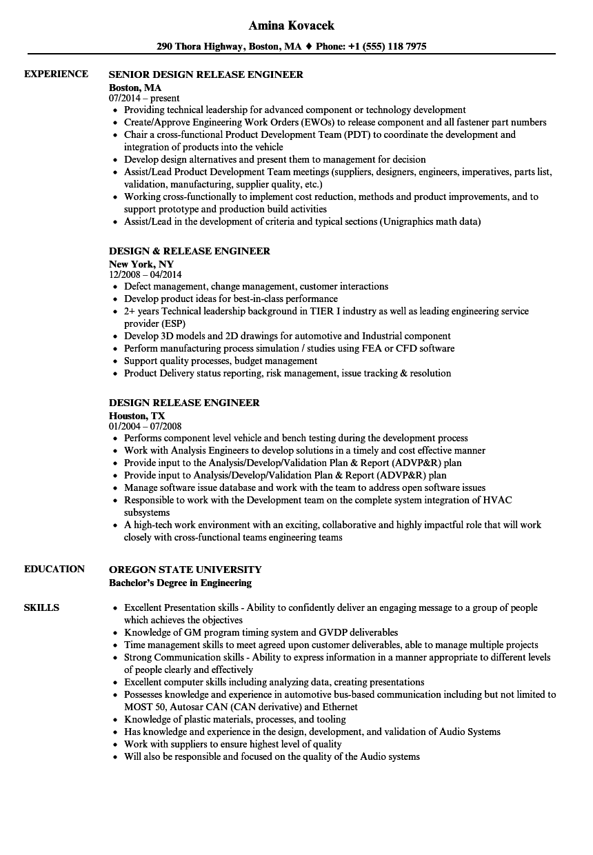 Design Release Engineer Resume Samples Velvet Jobs