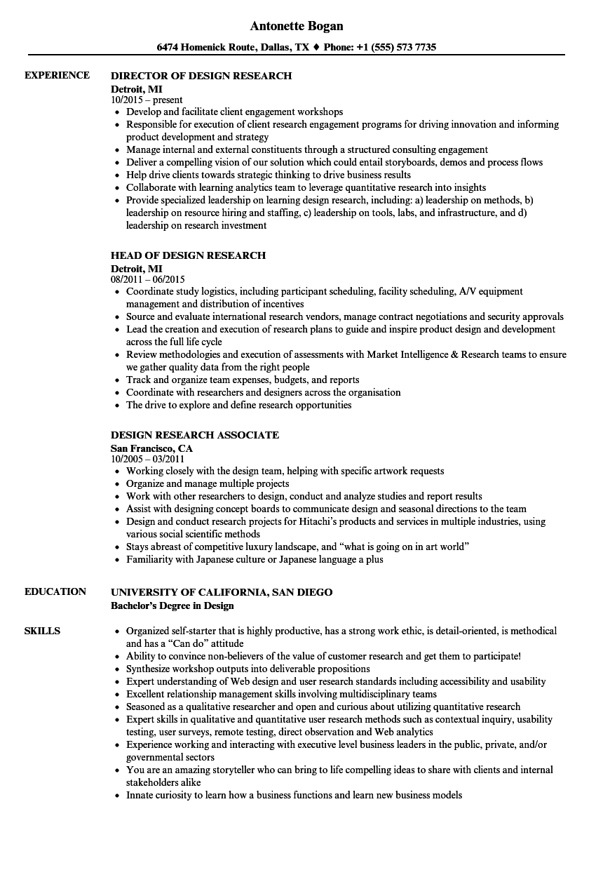 design research resume samples velvet jobs