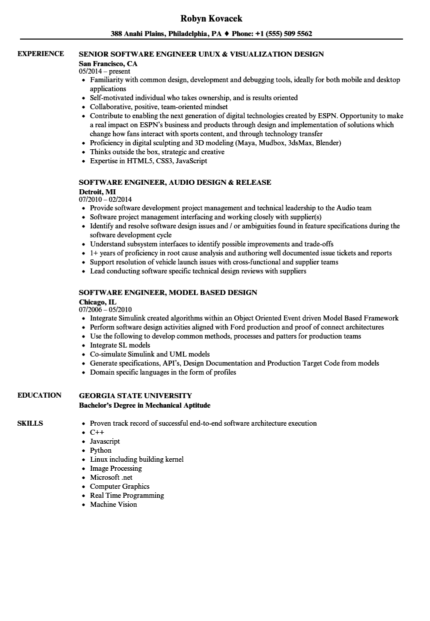 Design Software Engineer Resume Samples Velvet Jobs