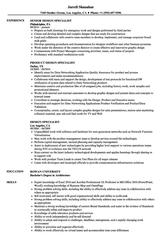 design specialist resume samples