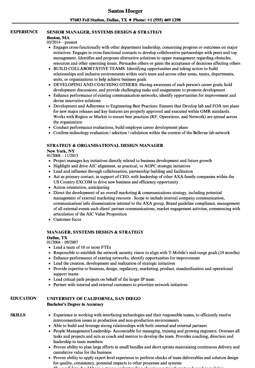 Design Strategy Manager Resume Samples Velvet Jobs