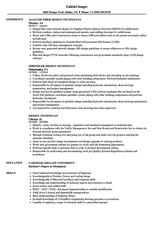 Design Technician Resume Samples Velvet Jobs