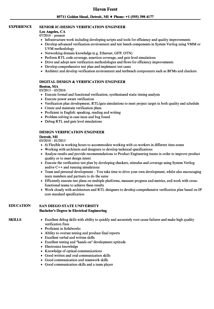 design verification engineer resume samples