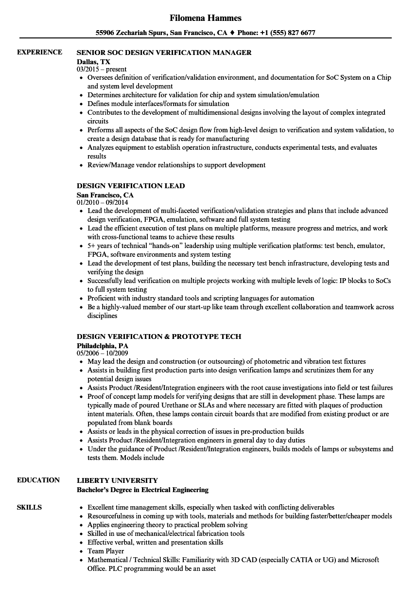 design verification resume samples