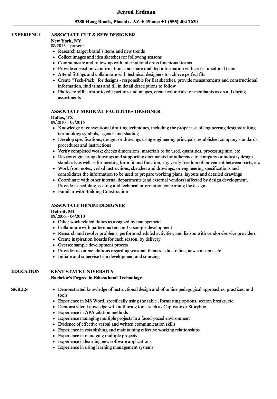 designer associate resume samples