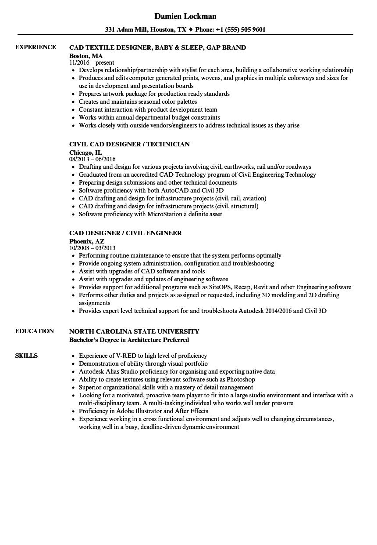 designer  cad resume samples