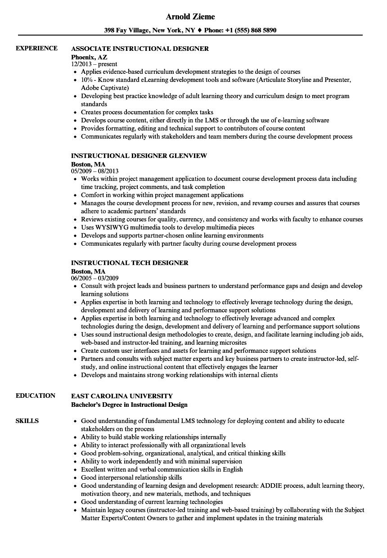 Designer Instructional Resume Samples Velvet Jobs