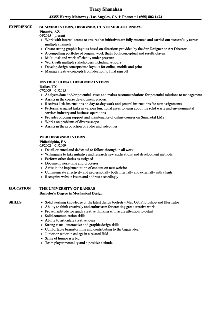 Designer Intern Resume Samples Velvet Jobs