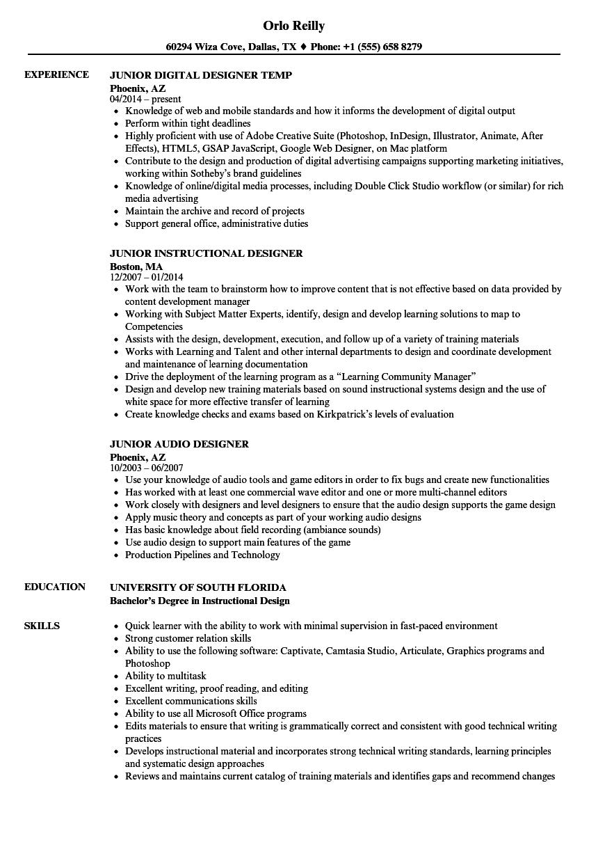 Designer Junior Resume Samples | Velvet Jobs