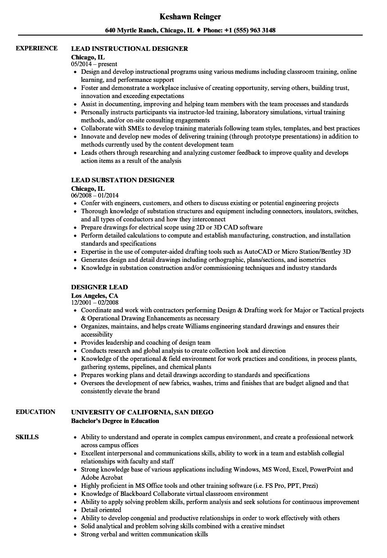 Designer Lead Resume Samples Velvet Jobs