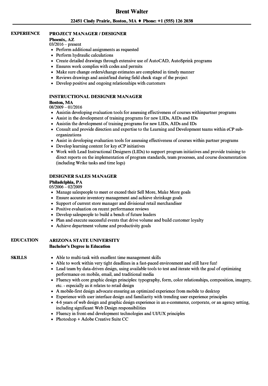 Designer Manager Resume Samples Velvet Jobs
