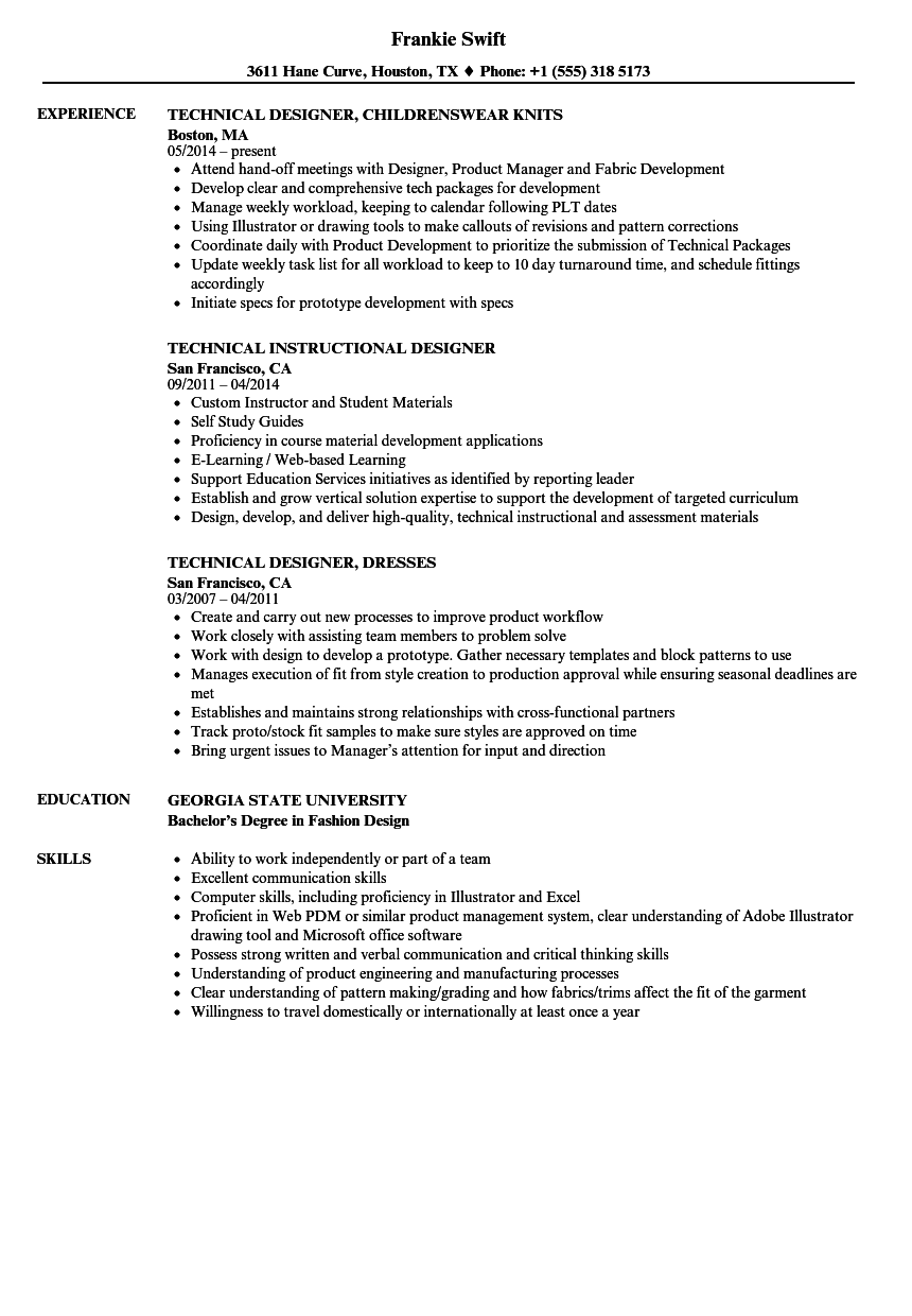 Designer / Technical Resume Samples | Velvet Jobs