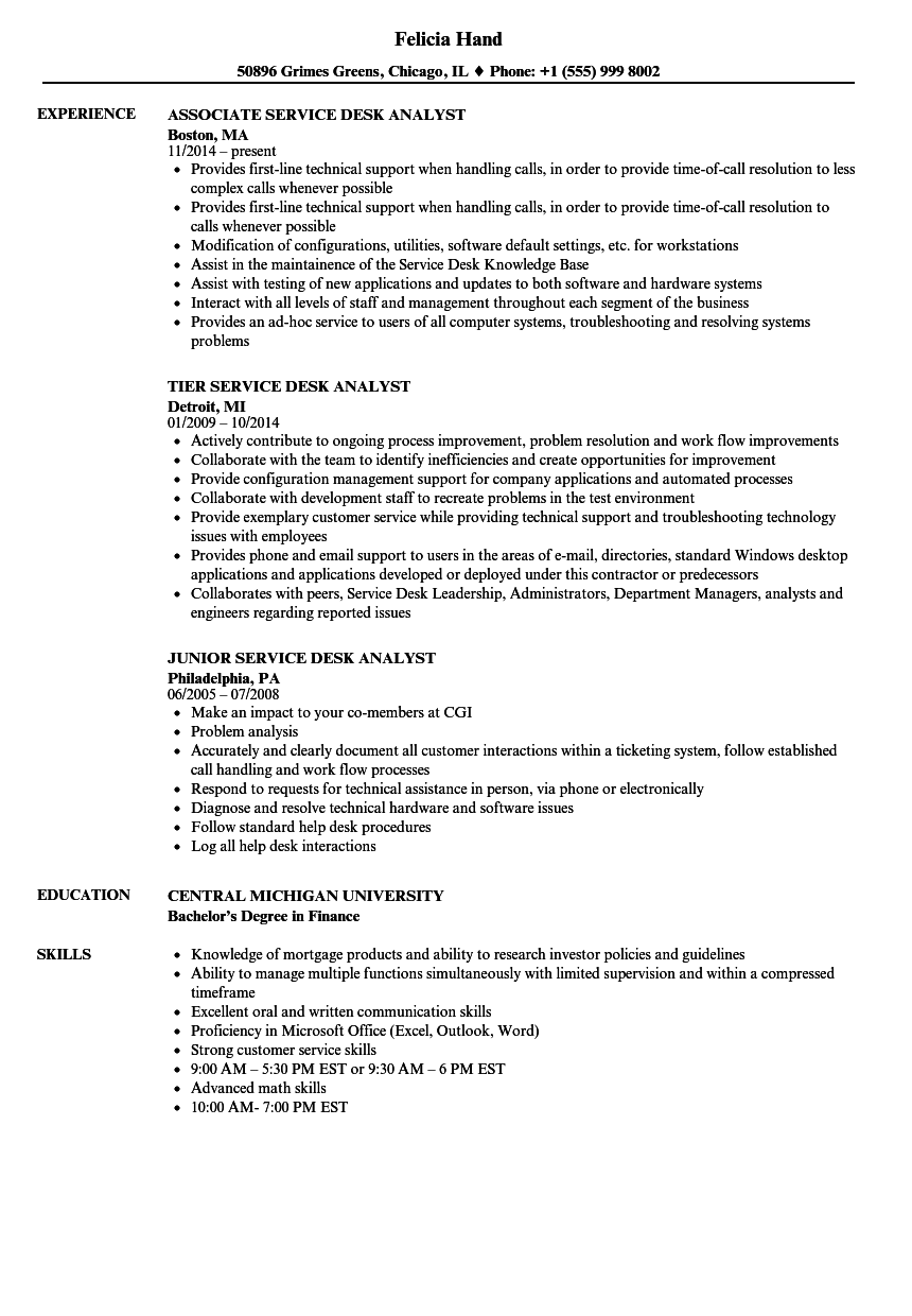 Related Job Les Service Desk Yst Resume Sample
