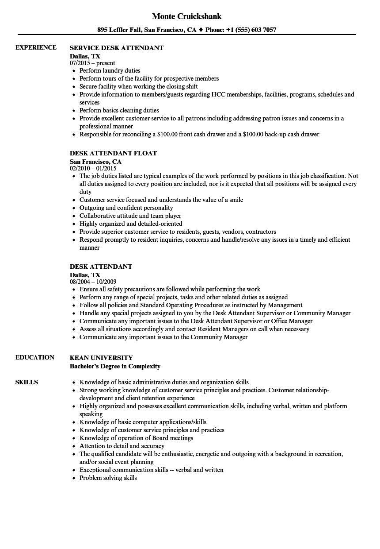 desk attendant resume samples