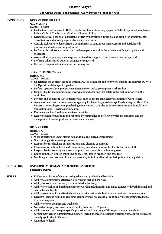 Desk clerk sample resume