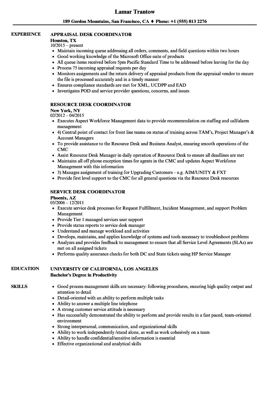 desk coordinator resume samples